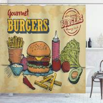"Ambesonne Hamburger Shower Curtain, Retro Hand Drawn Style Burger and Ingredients Gourmet Taste Delicious Fast Food, Cloth Fabric Bathroom Decor Set with Hooks, 75"" Long, Ecru Yellow"