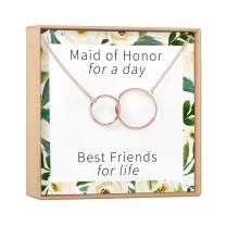 Dear Ava Maid of Honor Gift Necklace: Be My Bridesmaid Proposal, Matron of Honor, 2 Interlocking Circles (Rose-Gold-Plated-Brass, NA)