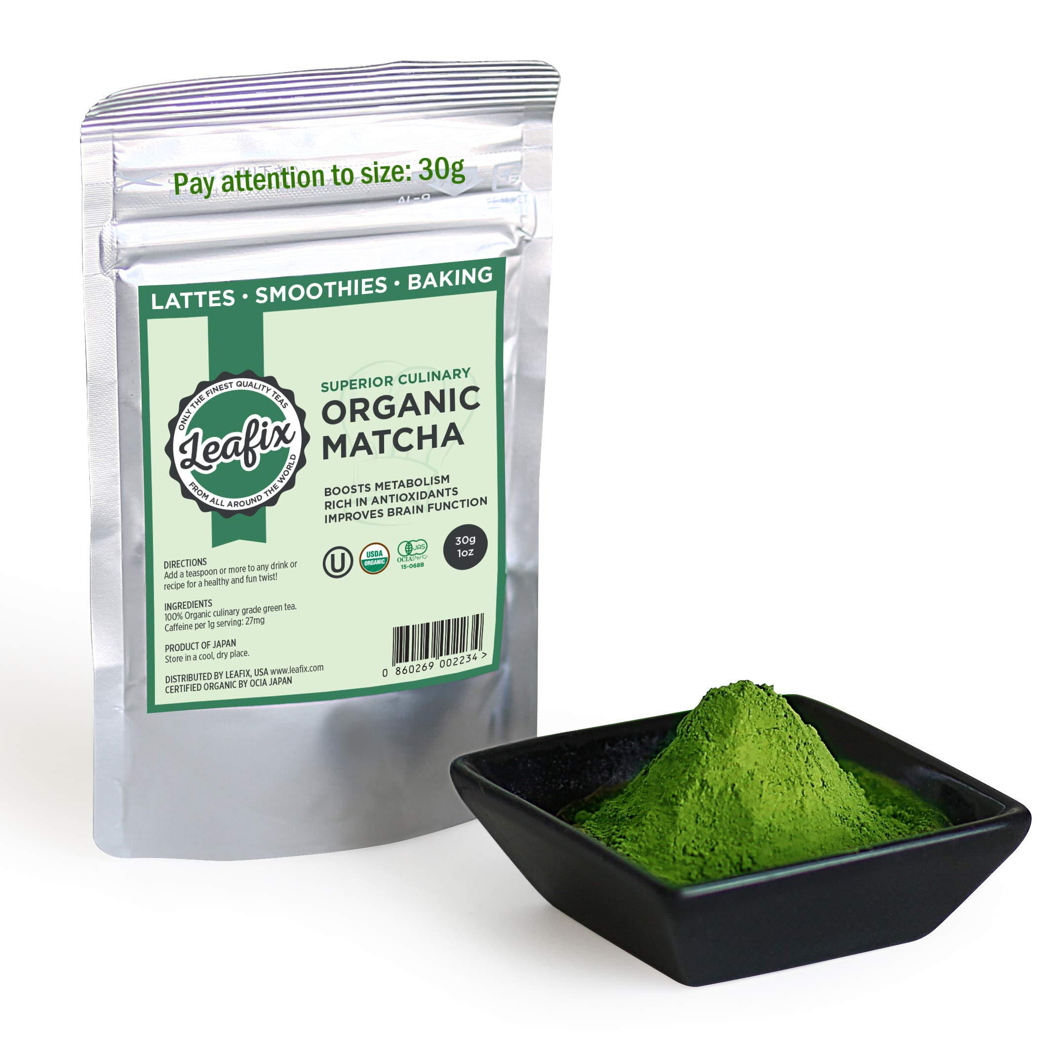Leafix Matcha Green Tea Powder: Best Japanese Premium Grade Macha Tea   Usda Organic   Superior Quality   Great For Smoothies, Latte, Cooking and Baking   Kosher (Culinary, 30 Gram)