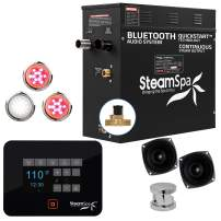 SteamSpa Raven Bluetooth Series 6kW QuickStart Steam Bath Generator Package in Polished Chrome | Steam Generator Kit with Touch Screen Auto Drain Steamhead and Bluetooth Speakers | FG-RVB600CH-A