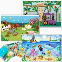 Animal Disposable Placemats for Baby - Farm, Ocean Life, Zoo Train - Sticky Topper for Table - 60 Pack in 3 Designs