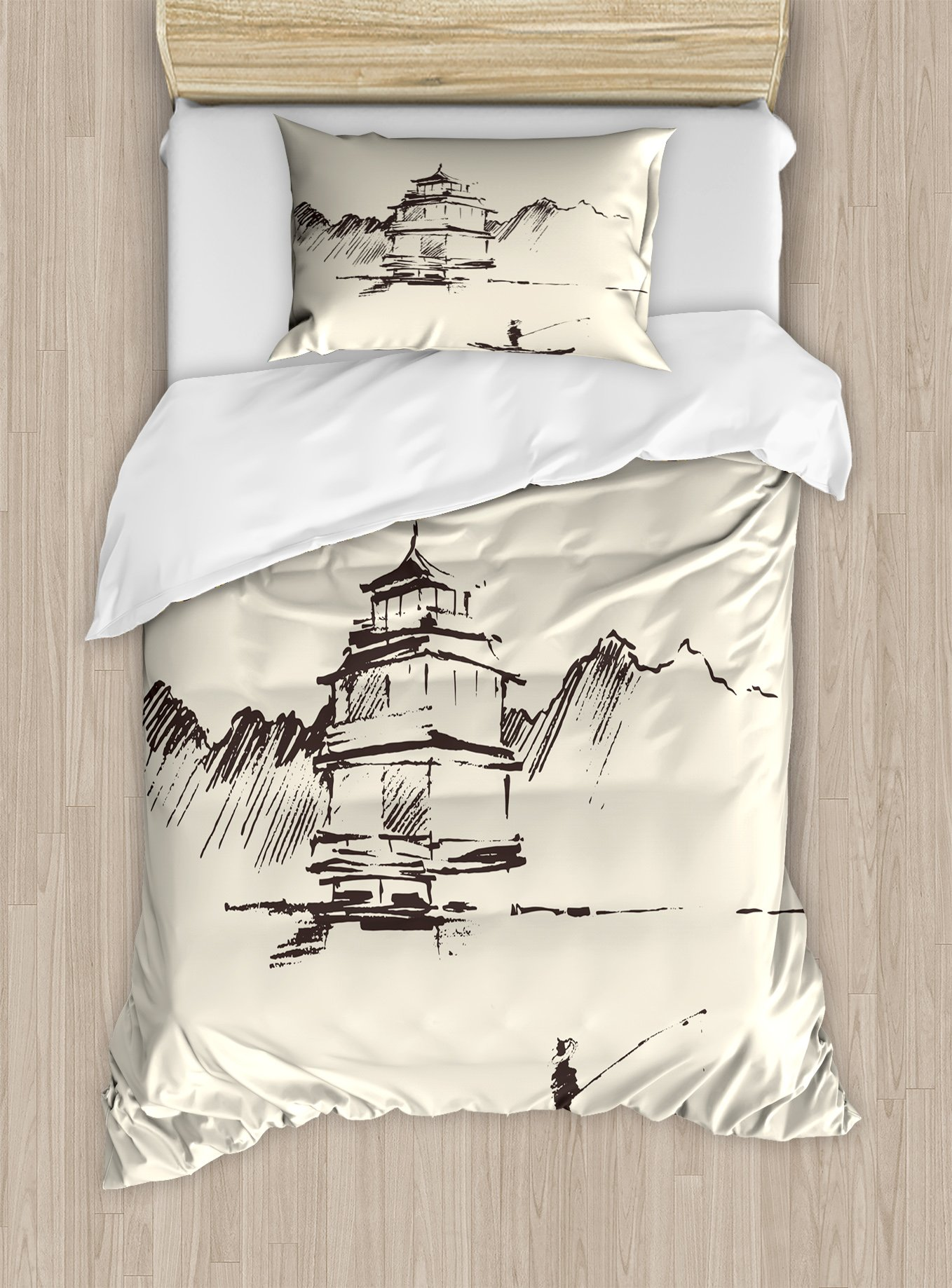 Ambesonne Vintage China Duvet Cover Set, Sketch Art of Oriental Landscape with Pagoda Fishing Man and Mountain, Decorative 2 Piece Bedding Set with 1 Pillow Sham, Twin Size, Brown Beige