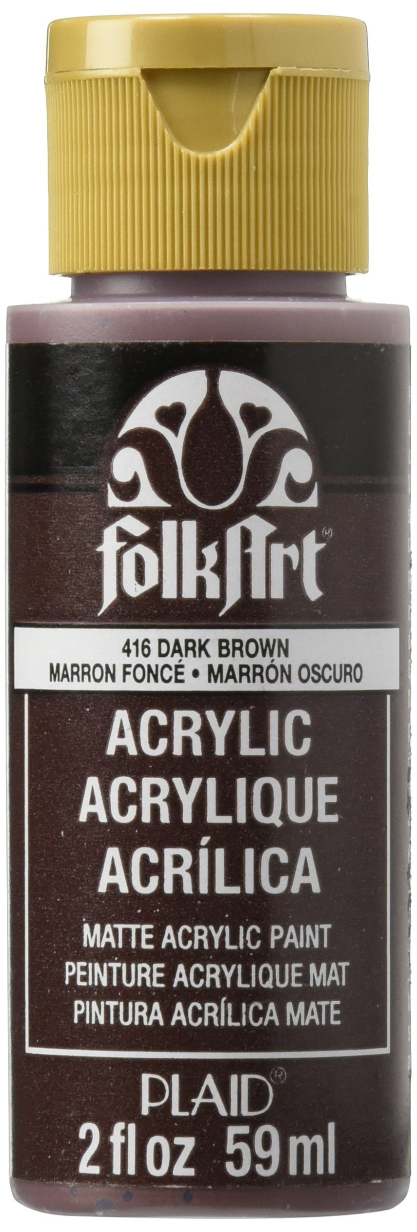 FolkArt Acrylic Paint in Assorted Colors (2 oz), 416, Dark Brown