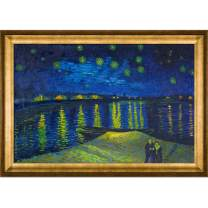 "La Pastiche Starry Night Over The Rhone Framed Oil Painting, 41"" x 29"", Multi"