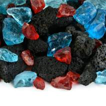 Hawaiian Dusk - Fire Glass and Lava Rock Blend for Indoor and Outdoor Fire Pits or Fireplaces | 10 Pounds | 3/8 Inch - 3/4 Inch