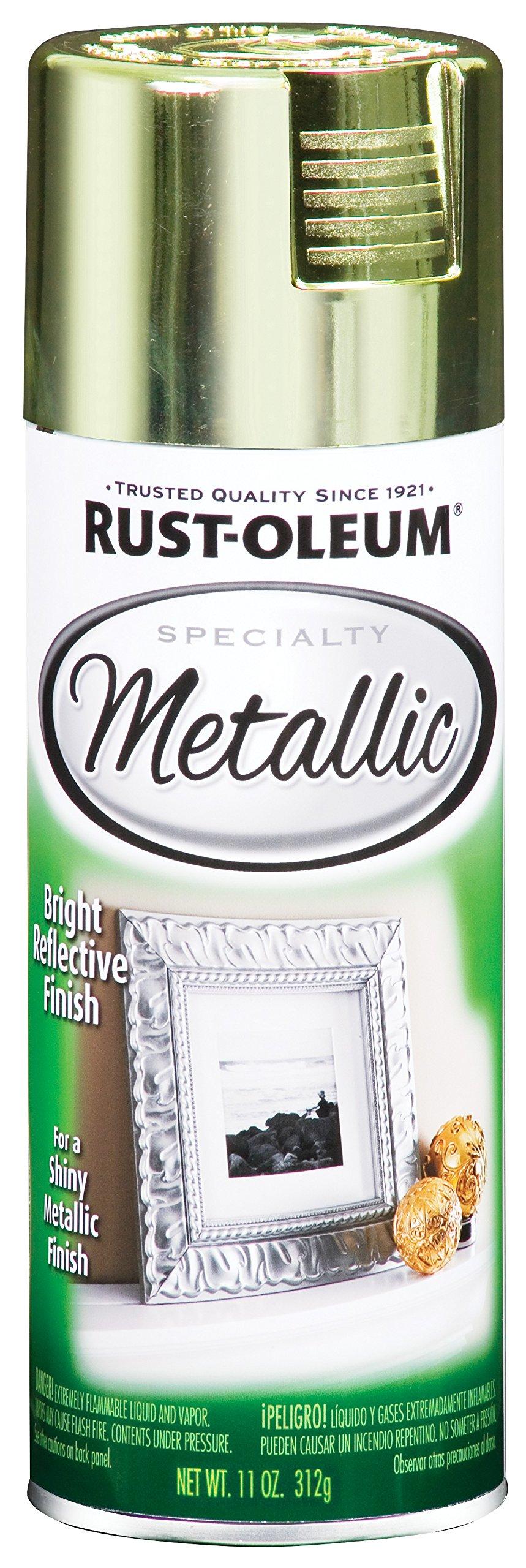Rust-Oleum 1936830 Specialty Topcoat Metallic Spray Paint, 11 Oz Aerosol Can, 10-12 Sq-Ft, Each, Brass