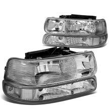 4Pcs Chrome Housing Clear Corner Headlight Bumper Light Lamp Replacement for Chevy Silverado Suburban Tahoe 99-02