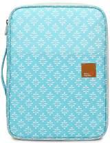 Mygreen New Universal A4 Document Bags Portfolio Organizer- Waterproof Travel Gear Organizer Zipper Case/Document File Bag for Ipads, Notebooks, Pens, Document Light Blue