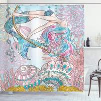 """Ambesonne Mermaid Shower Curtain, Cartoon Mermaid in Sea Sirens of Greek Myth Female Human with Tail of Fish Image, Cloth Fabric Bathroom Decor Set with Hooks, 84"""" Long Extra, Pink Blue"""
