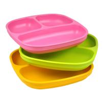 Re-Play Made in USA 3pk Toddler Feeding Divided Plates with Deep Sides for Easy Baby, Toddler, and Child Feeding - Bright Pink, Lime Green & Sunny Yellow (Pink Asst.)