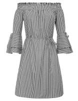 GRACE KARIN Womens Casual 3/4 Sleeve Off Shoulder Mini Dress Black S