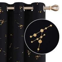 Deconovo Blackout Curtain Foil Printed Constellation Pattern Curtains Grommet Light Blocking Window Drapes for Kids Room Black 2 Panels 42 x 72 inch