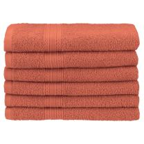 "Superior Eco-Friendly 100% Ringspun Cotton, 6 Piece Hand Towel Set (16"" x 30"") in Coral"