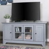 """Walker Edison Furniture Company Wood Universal Stand with Storage Cabinets for TV's up to 58"""" Flat Screen Living Room Entertainment Center, 52 inch, Grey"""
