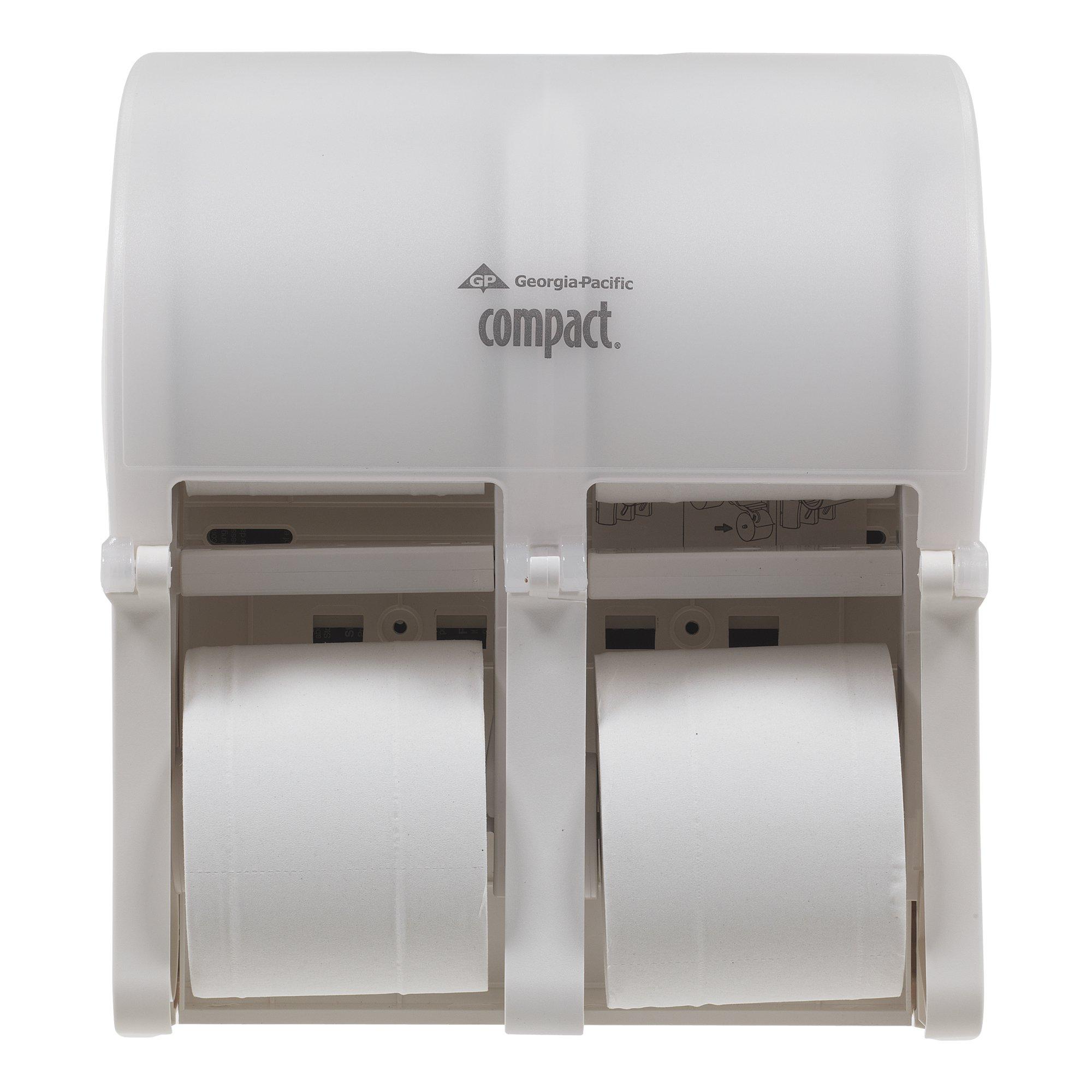 "Compact 4-Roll Quad Coreless High-Capacity Toilet Paper Dispenser by GP PRO (Georgia-Pacific), Translucent White, 56747, 11.750"" W x 6.900"" D x 13.250"" H"