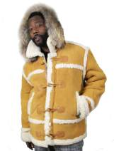 Men Shearling Winter Jacket Bomber Warm Toggle Coat Hood and Fur Camel Color Regular and Big & Tall Sizes