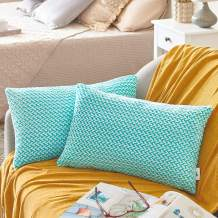PAULEON Throw Pillow Covers 12x20 – Peacock Blue and White, Set of 2 – Fluffy Fiber - Сhevron Pattern - Decorative Cushion Cases – Perfect for Couch, Sofa, Bed, Accent Pillows