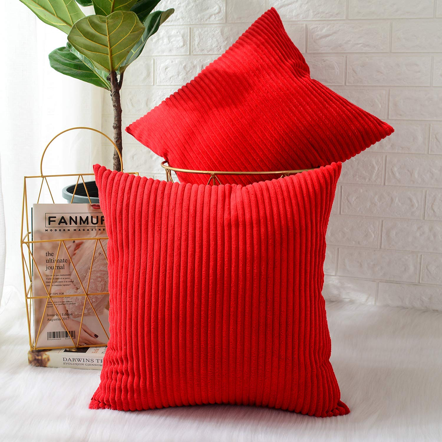 MERNETTE New Year/Christmas Decorations Corduroy Soft Decorative Square Throw Pillow Cover Cushion Covers Pillowcase, Home Decor for Party/Xmas 20x20 Inch/50x50 cm, Red, Set of 2