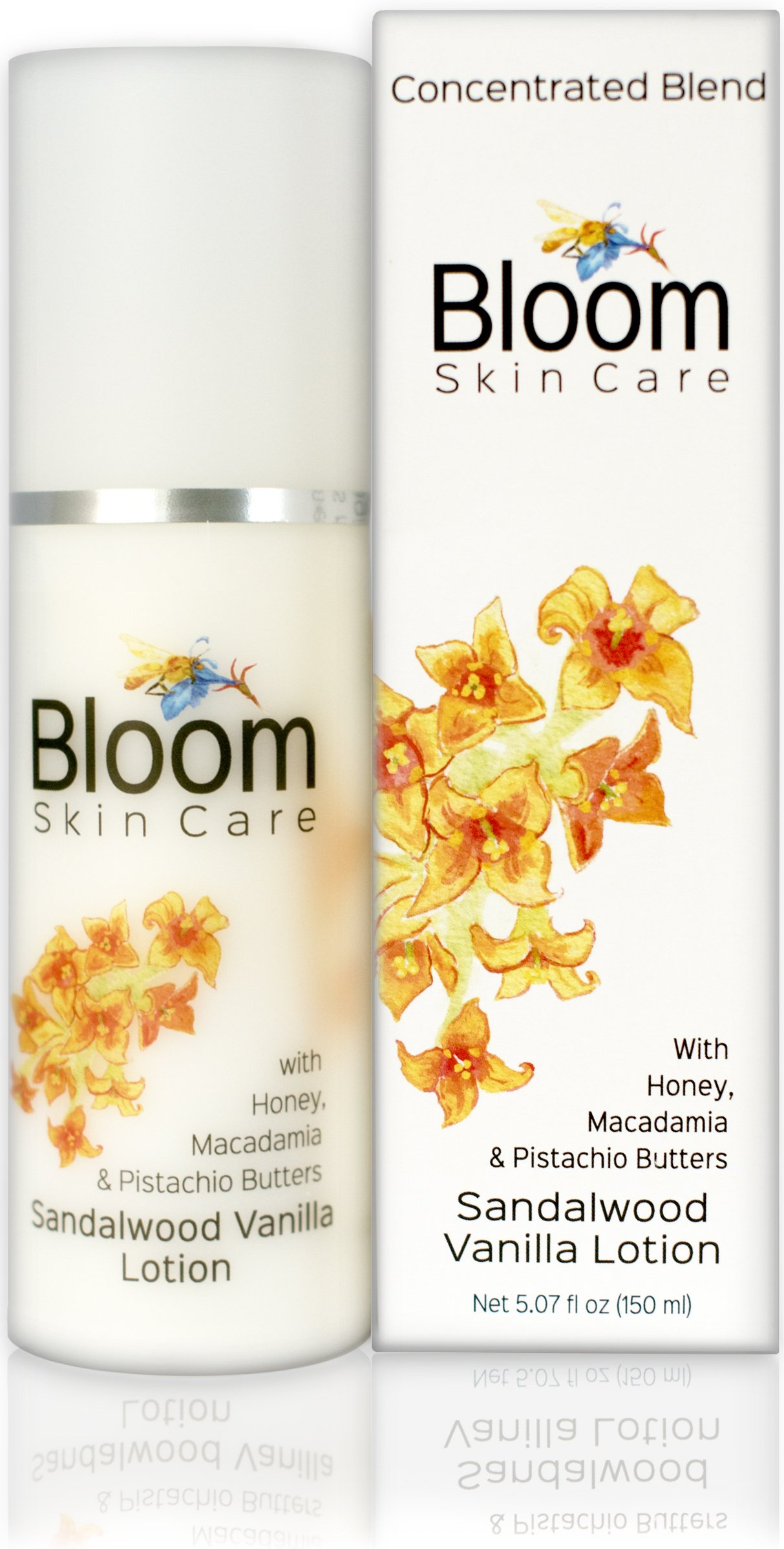 Bloom Skin Care Hand and Body Lotion - Sandalwood Vanilla 5.07 oz - Natural Moisturizing Cream for Women and Men - Paraben Free and Cruelty Free - Anti Aging with Powerful Ingredients and Honey