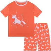 DAUGHTER QUEEN Girls Pajamas Set 100% Cotton Little Big Pjs Toddler Kids Sleepwear
