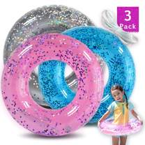 Inflatable Pool Floats for Kids(3 Pack) Color Tubes with Sparkling Glitter,Pool Toys for Swimming Pool Party Decorations + Free Patch