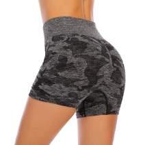 Aonour Workout Shorts for Women High Waisted Yoga Shorts Camo Training Shorts Seamless