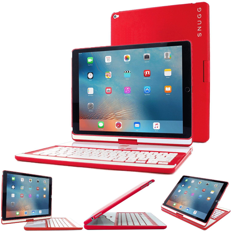 iPad Pro 12.9 2017/2015 Keyboard, Snugg [Red] Wireless Bluetooth Keyboard Case Cover 360° Degree Rotatable Keyboard for Apple iPad Pro 12.9 2017/2015