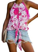 Eytino Women Summer Sleeveless Halter Casual Solid/Floral Print Cami Tank Tops(S-XXL)