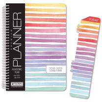 "HARDCOVER Academic Year Planner 2018-2019 - 5.5""x8"" Daily Planner/Weekly Planner/Monthly Planner/Yearly Agenda. Bonus Bookmark (Pastel Stripes)"