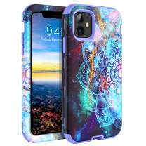 iPhone 11 Case GUAGUA Mandala Flowers Floral Space Nebula Stars Shockproof Protective 3 in 1 Hybrid Hard PC Soft TPU Bumper Cover Scratch Resistant for iPhone 11 6.1-inch 2019 Purple