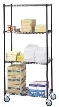 """14"""" Deep x 30"""" Wide x 60"""" High 4 Tier Black Wire Shelf Truck with 1200 lb Capacity"""