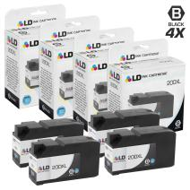LD Compatible Ink Cartridge Replacement for Lexmark 200XL 14L0174 High Yield (Black, 4-Pack)