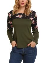 Zeagoo Women's Casual Long Sleeve Print Patchwork Blouse Top Tee Shirt