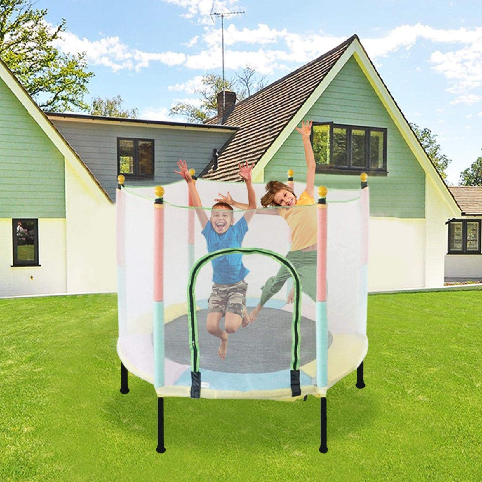 Marguller Trampoline for Kids | 5FT Kids Trampoline with Enclosure Net Jumping Mat and Spring Cover Padding | Complete Accessory Set and Easy Assembly | Max Load 220lbs