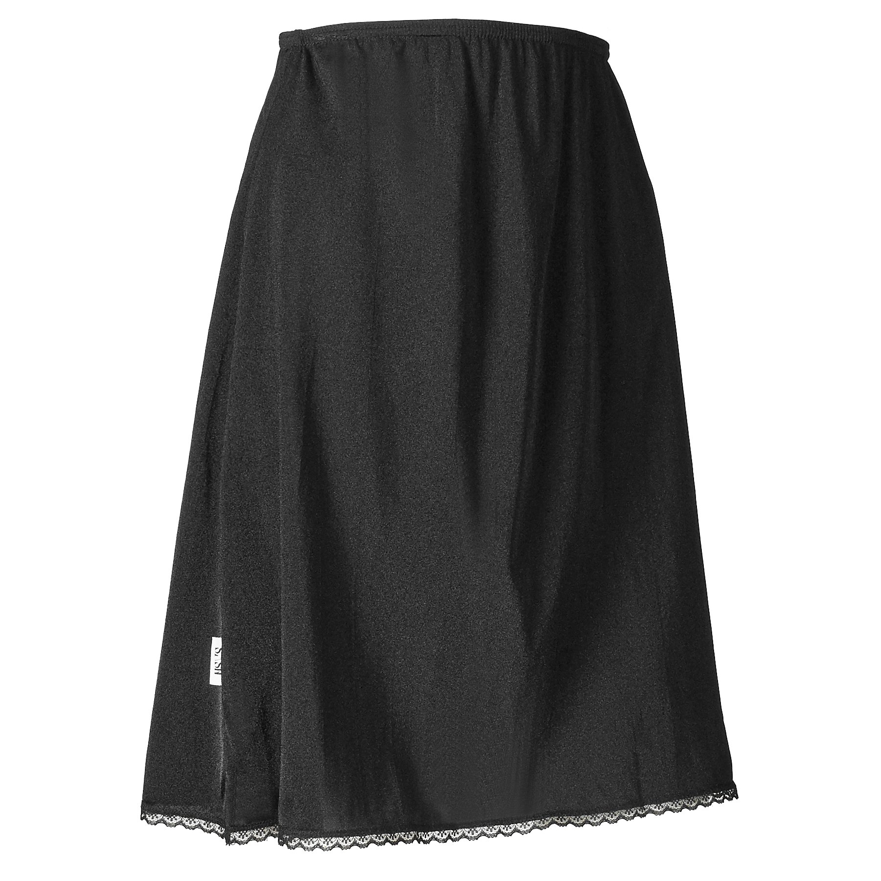 Sash Women's Classic Half Slip Dress for Ladies and Girls - Slight Flare - Anti Static - Black