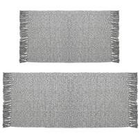 """HiiARug Cotton Area Rug Set 2 Piece 2'x3'+2'x4'4"""" Cotton Area Rugs Runner with Fringe Tassels Cotton Runner Rug Grey Machine Washable for Entryway, Bedroom, Living Room, Kids Room(2'x3'+2'x4'4"""")"""