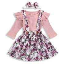 Kids Toddler Baby Girls Skirt Set Outfit Ruffle Long Sleeve T-Shirt Top+Floral Strap Skirt Tutu Dresses Fall Clothes