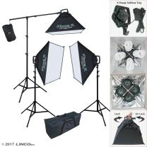 Linco Lincostore Continuous Photography Video Studio 3 Softbox Boom Stand Digital Video Hair Lighting AM170 W/ 12 Light Bulb