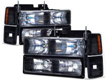 HEADLIGHTSDEPOT Black Headlights Compatible with Chevrolet Blazer Suburban C/K 1500 2500 3500 Tahoe Includes Driver and Passenger Side Headlamps 8-Piece Set with Corners and Park Lights Xenon Bulbs