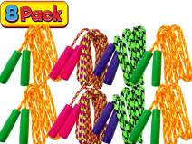 JA-RU Kids Jump Rope 7ft (Pack of 8 Jump Ropes in Bulk) Assorted Colors Jump Ropes for Boys Girls Kids and Adults Great Party Favors Toy Kids Outdoor Activities 1995-8A