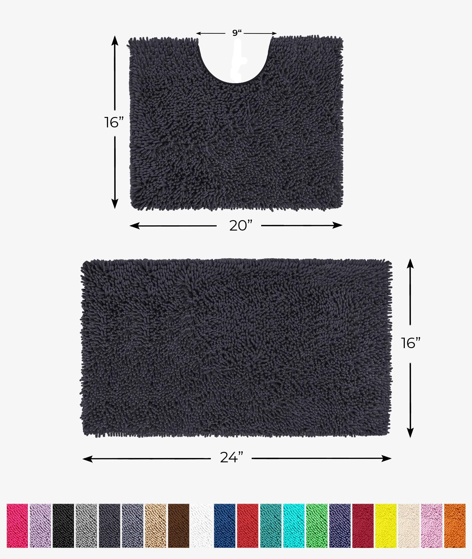 LuxUrux Bathroom Rugs Luxury Chenille 2-Piece Bath Mat Set, Soft Plush Anti-Slip Bath Rug +Toilet Mat.1'' Microfiber Shaggy Carpet, Super Absorbent (Curved Set Small, Charcoal)