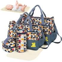 GPCT Diaper Bag Tote, Modern Baby Bag for Girls and Boys, 5 Piece Set Including Large Medium Tote Bag, Food Bag, Bottle Bag and Changing Pad, with Shoulder Straps, Best Baby Shower Gift for Mom & Dad