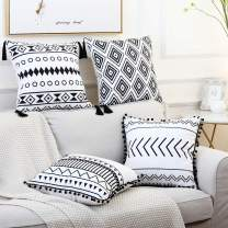 GALMAXS7 Boho Pillow Covers 18 X 18 Set of 4 Modern Geometric Throw Pillow Covers Farmhouse Decorative Pillow Covers with Pom-Poms Tassels Black and White Bohemia Decorative Pillowcase for Sofa Bed