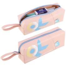 Dadanism Pencil Pouch Pen Bag Pencil Case Big Capacity Portable Stationery Bag Desk Organizer Bag with Zipper for Girls Teens Students School Office Supplies Handbag - Pale Pink