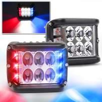 Side Shooter Lights, OVOTOR LED Light Pods with Strobe Blue&Red Strobe Emergency Light Off Road Driving Light for Trucks Jeep SUV ATV 4X4