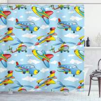 """Ambesonne Plane Shower Curtain, Cartoon Planes and Helicopters in The Air Between Clouds Nursery Toy Artwork, Cloth Fabric Bathroom Decor Set with Hooks, 75"""" Long, Yellow Blue"""