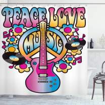 "Ambesonne Groovy Shower Curtain, Peace Love Music Text with Peace Guitar Records Flowers Musical Notes, Cloth Fabric Bathroom Decor Set with Hooks, 70"" Long, Blue Pink"