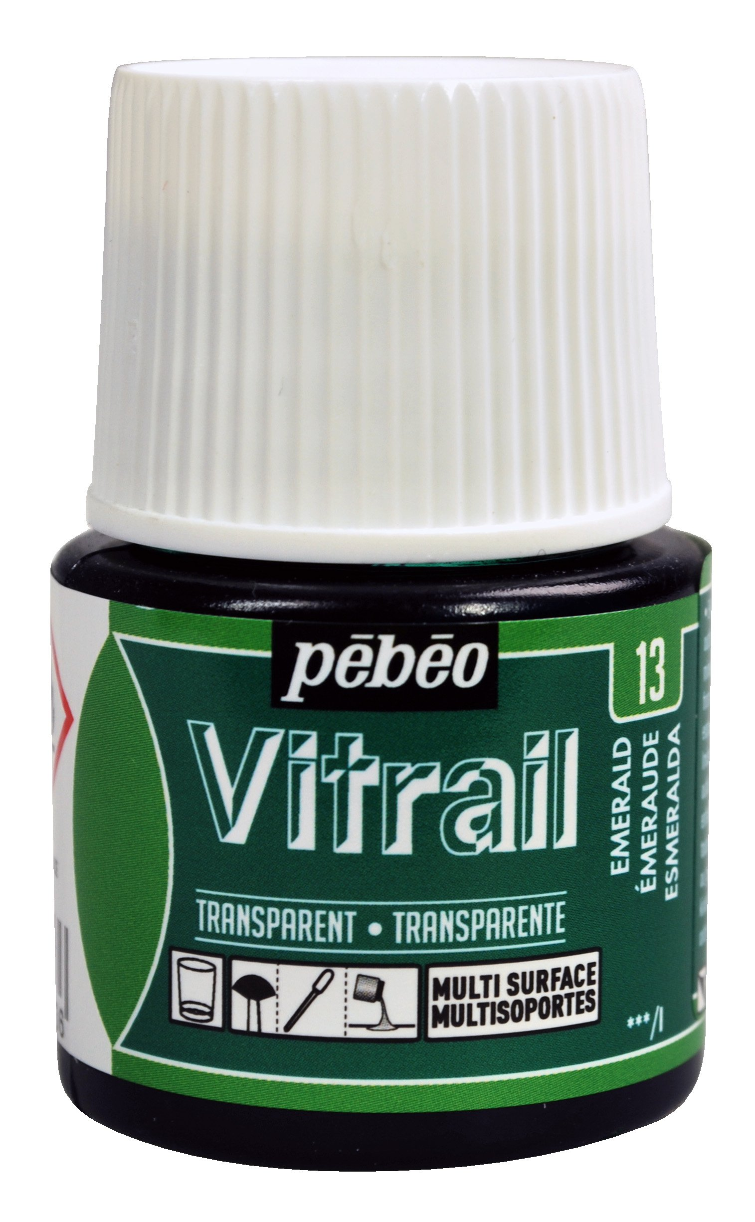 Pebeo Vitrail, Stained Glass Effect Paint, 45 ml Bottle - Emerald