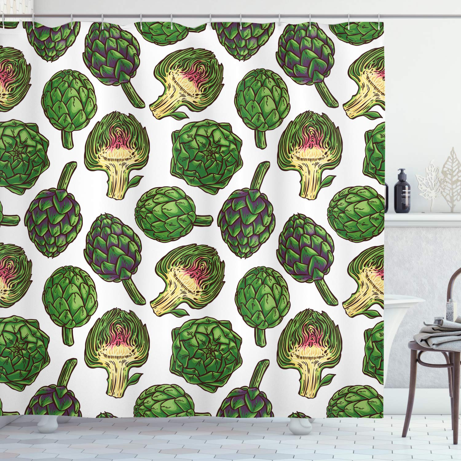 """Ambesonne Artichoke Shower Curtain, Hand Drawn Healthy Foods in Various Forms Organic Natural Gourmet Artwork Print, Cloth Fabric Bathroom Decor Set with Hooks, 75"""" Long, Fern Green"""