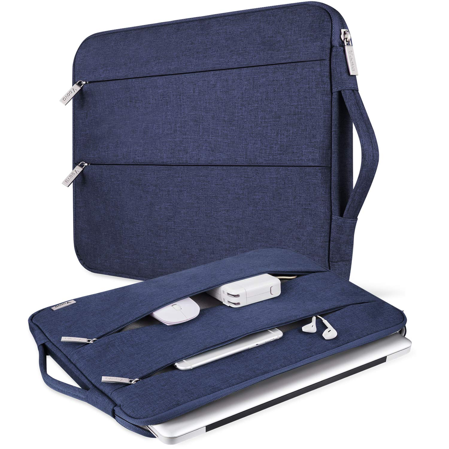 """V Voova Laptop Sleeve 13 13.3 Inch Waterproof Computer Carrying Case Compatible with Handle Compatible with Chromebook MacBook Air/13.3"""" MacBook Pro/Surface Book 2 13.5/HP Notebook Bags,Blue"""